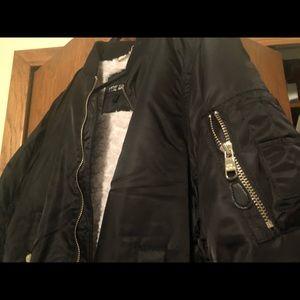 Steve Madden Fur Lined Black Bomber Jacket Size L